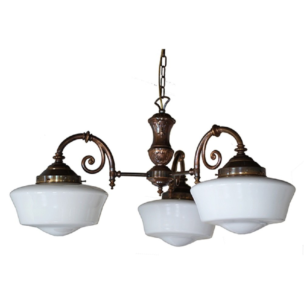 3 Arm Schoolhouse Hanging Ceiling Pendant Light With Opal