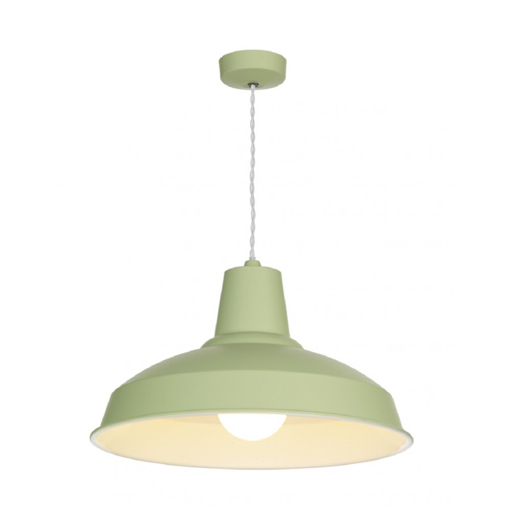 retro style ceiling pendant light painted in soft sage green