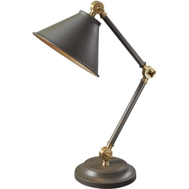 PROVENCE ELEMENT small adjustable dark grey retro desk light with aged brass detailing