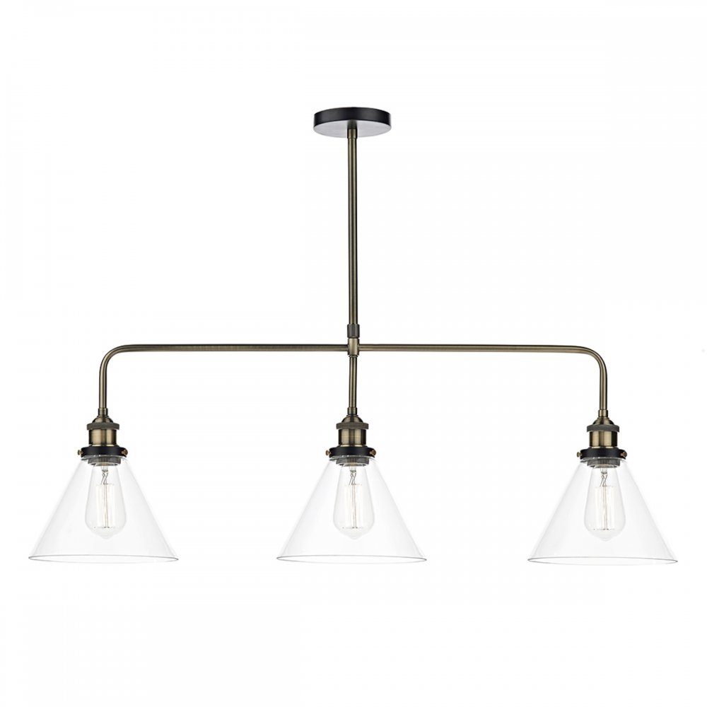 RAY vintage antique brass bar pendant ceiling light with glass shades