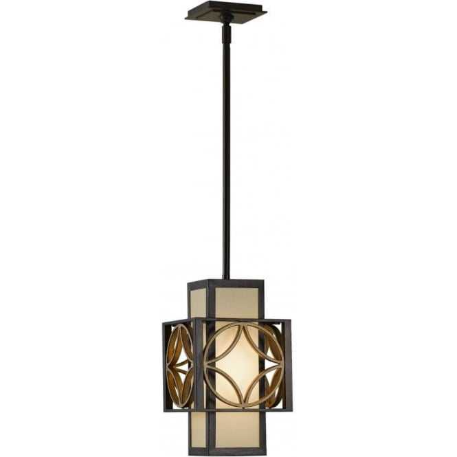 Art Deco Small Hanging Ceiling Pendant Light In Bronze And Gold