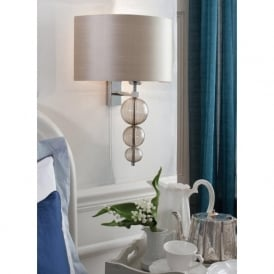 ALETTE modern classic wall light, silk shade, glass detailing