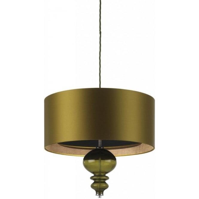 Bolshoi Hanging Ceilling Pendant Light, Olive Green Drum Shade