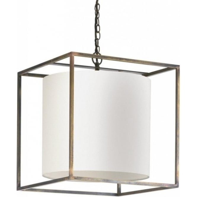 Hanging Ceiling Pendant Cube Light, Antique Frame. Oyster