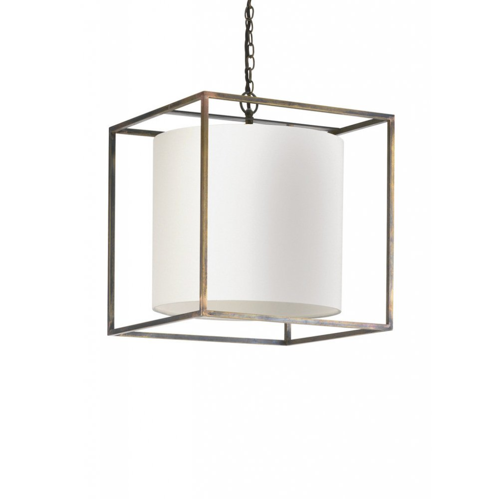 Hanging Ceiling Pendant Cube Light, Antique Frame. Oyster
