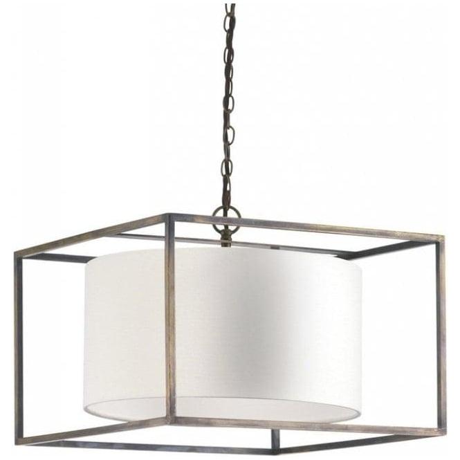 Long Drop Ceiling Pendant Light, Antique Cube Frame, Linen