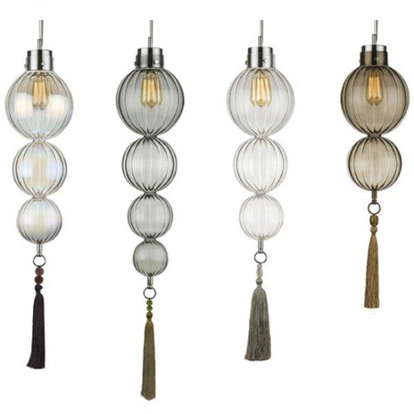 Slimline Glass Ball Ceiling Pendant Light, Exotic Moroccan