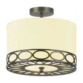SALZBURG semi flush fitting circular ceiling light with bronze fretwork