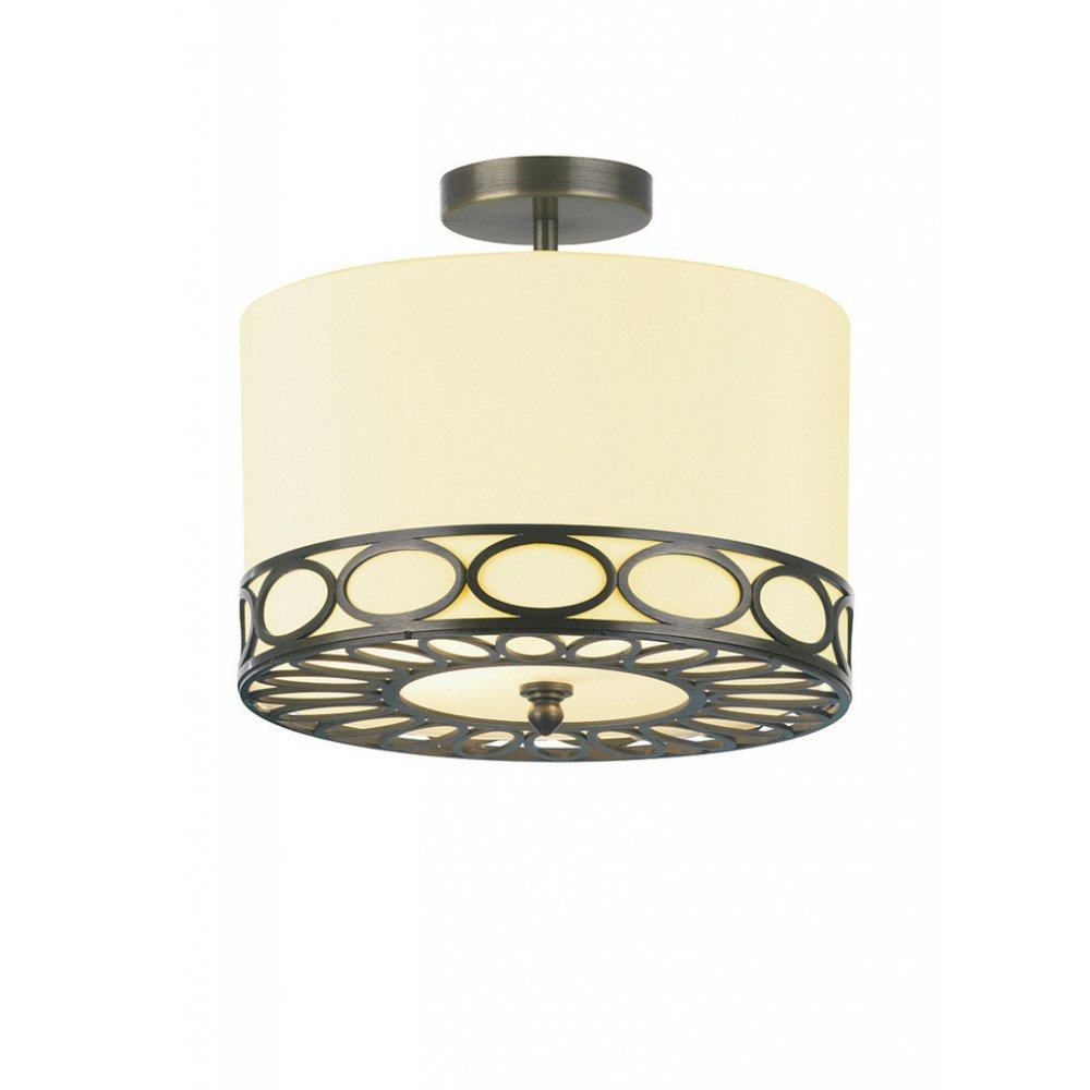 Circular Cream Ceiling Light For Low Ceilings With Bronze Fretwork