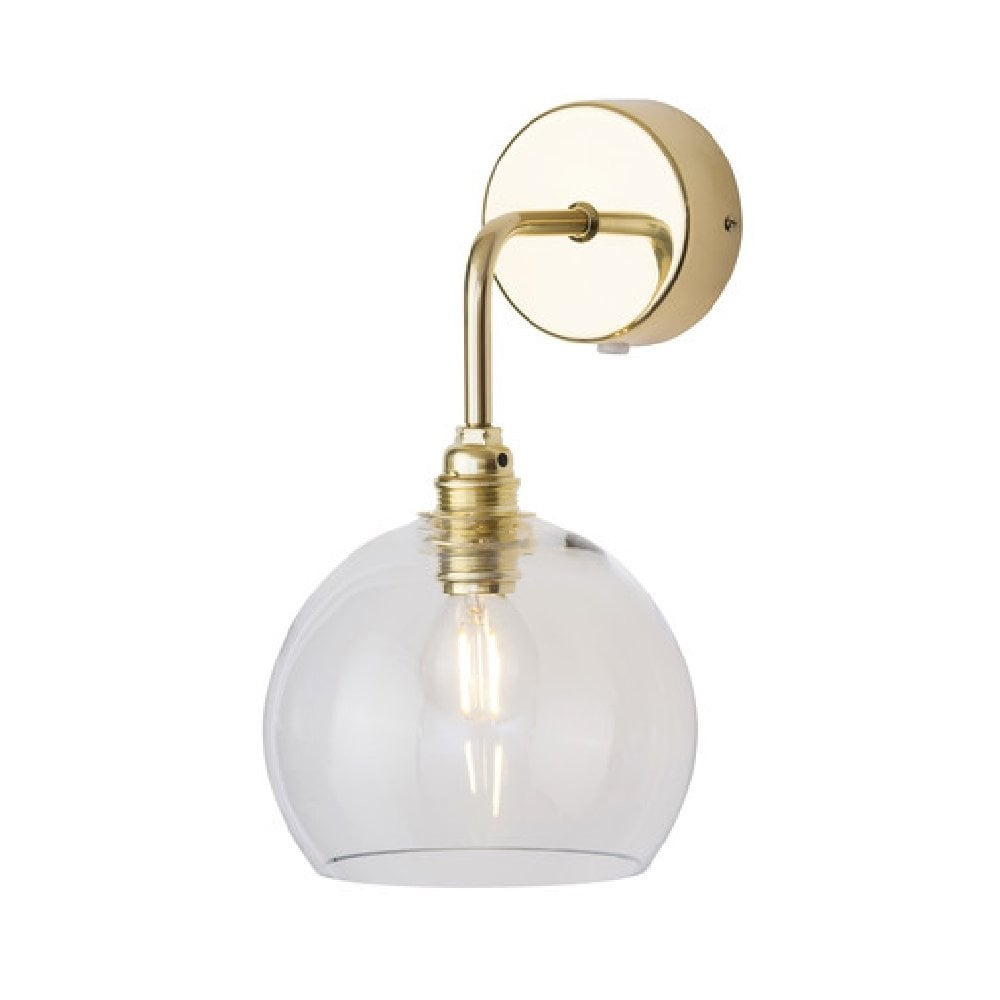 Copenhagen Glass Gold Wall Light With Clear Mouth Blown Glass Shade