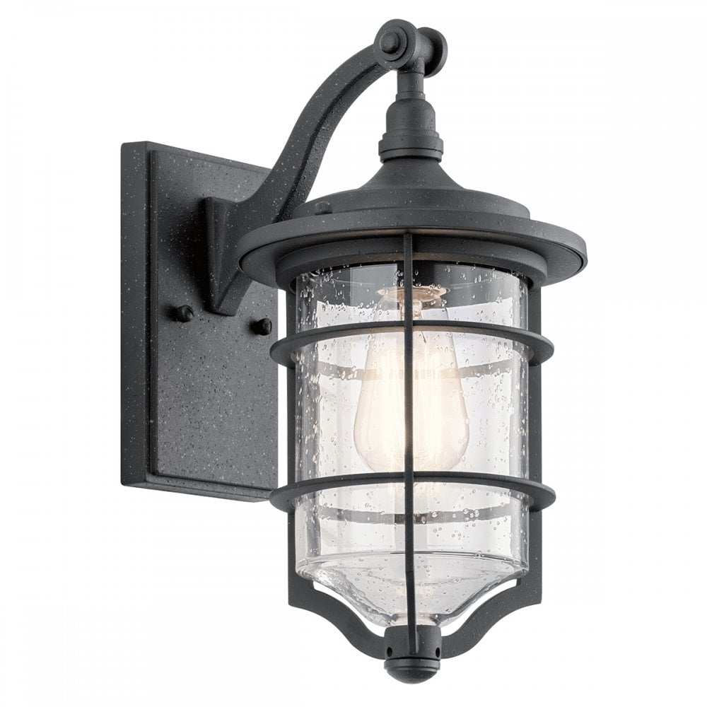 Nautical Style Small Black Outdoor Wall Lantern With Seeded Glass Shade