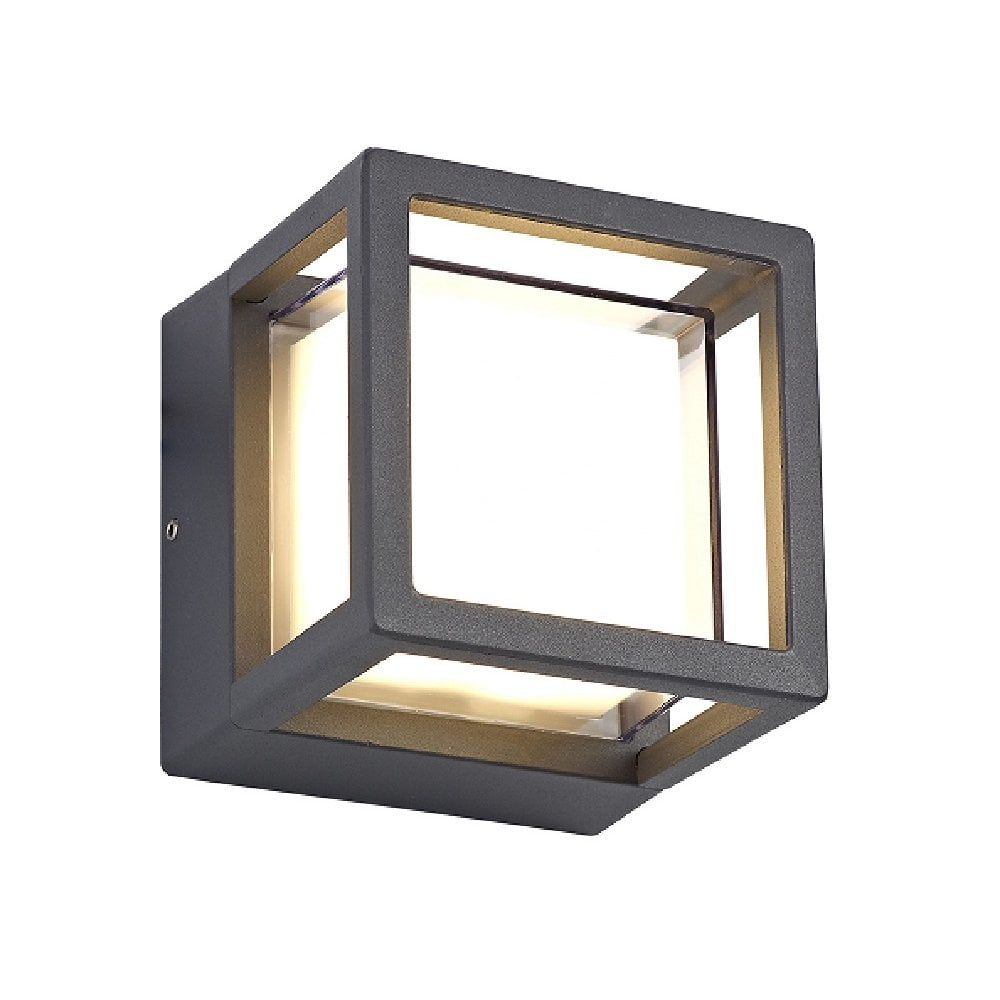 Neat Led Exterior Wall Light With Square Black Frame And Opal Glass