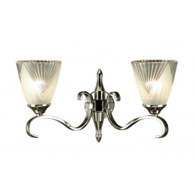 COLUMBIA double polished nickel wall light with Art Deco glass shades