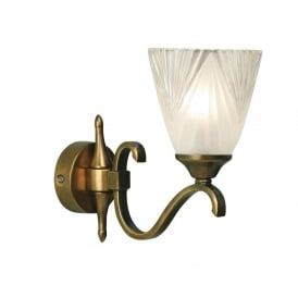 COLUMBIA single antique brass wall light with Art Deco glass shade