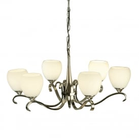 COLUMBIA traditional 6 arm ceiling light in nickel with opal glass shades