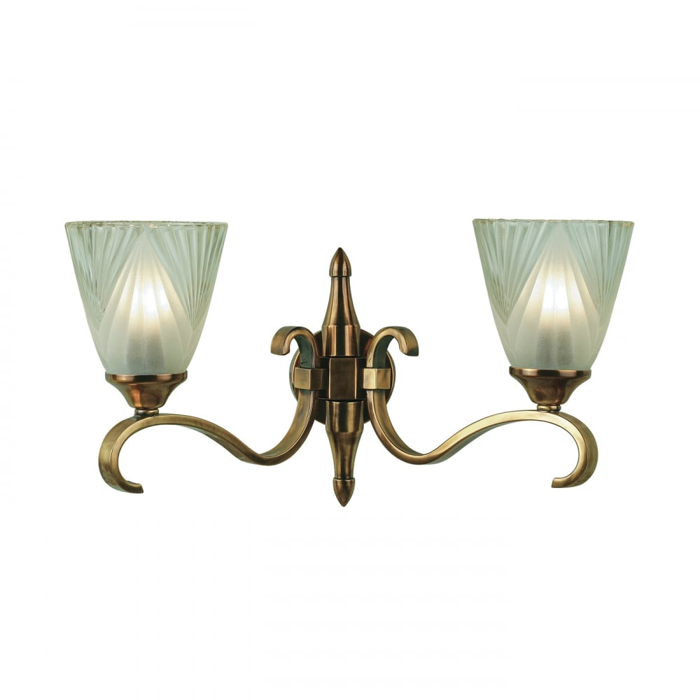 brand new d6c26 6f8ea COLUMBIA twin antique brass wall light with Art Deco glass shades