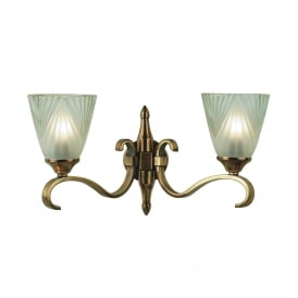 COLUMBIA twin antique brass wall light with Art Deco glass shades