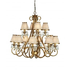 OKSANA 12 light traditional antique brass chandelier with beige shades