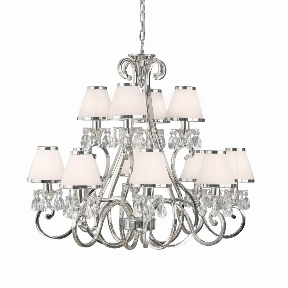 Oksana 12 Light Traditional Nickel Chandelier With White Shades