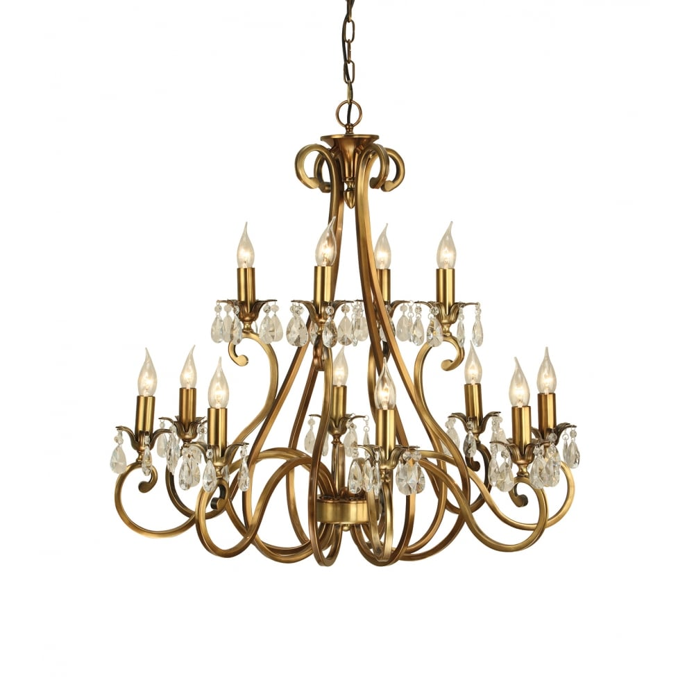 Oksana 2 Tier Traditional Antique Brass Chandelier With 12 Candle Lights