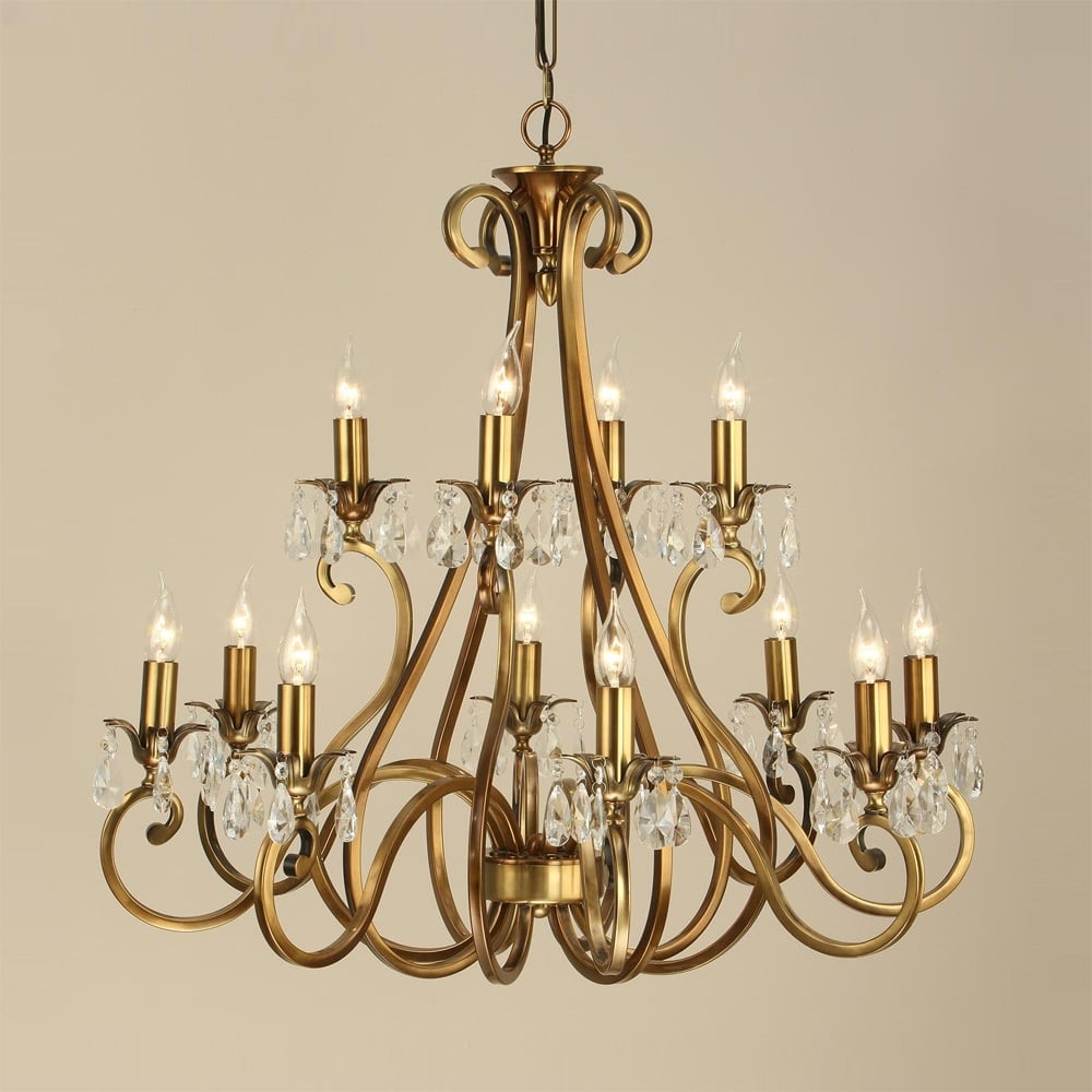 Sandringham lighting oksana 2 tier traditional antique brass oksana 2 tier traditional antique brass chandelier with 12 candle lights mozeypictures Image collections