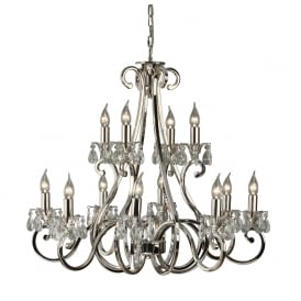 OKSANA 2 tier traditional nickel chandelier with 12 candle lights