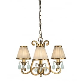 OKSANA 3 light traditional antique brass chandelier with beige shades