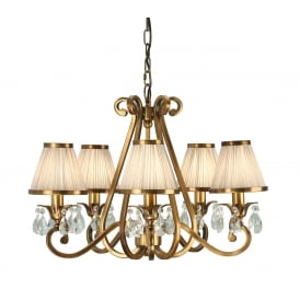 OKSANA 5 light traditional antique brass chandelier with beige shades