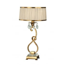 OKSANA antique brass table lamp with beige shade