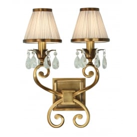 OKSANA double antique brass wall liight with beige shades and crystal drops