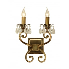 OKSANA double antique brass wall liight with crystal drops