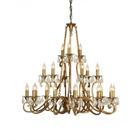OKSANA large 3 tier traditional antique brass chandelier with 21 candle lights