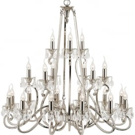 OKSANA large 3 tier traditional nickel chandelier with 21 candle lights