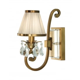 OKSANA single antique brass wall liight with beige shade and crystal drops