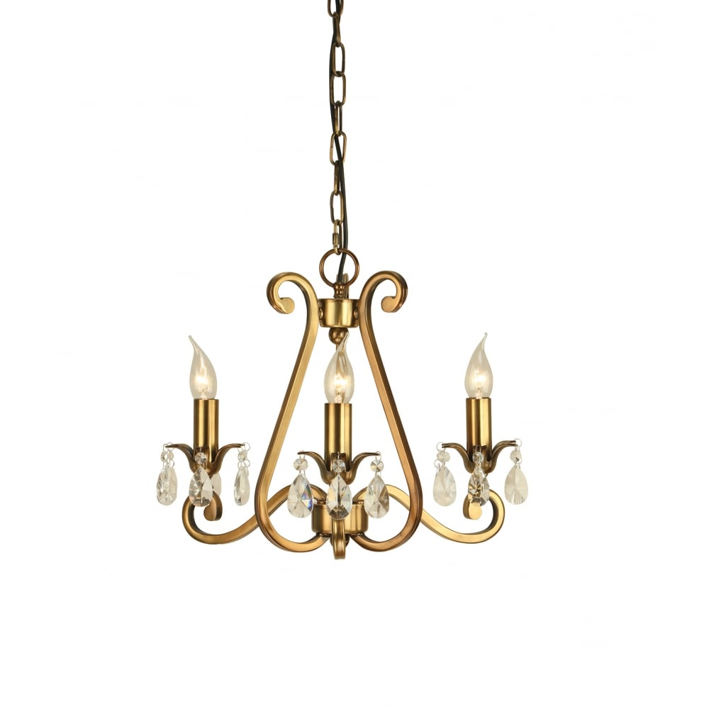 Oksana small 3 light traditional antique brass chandelier