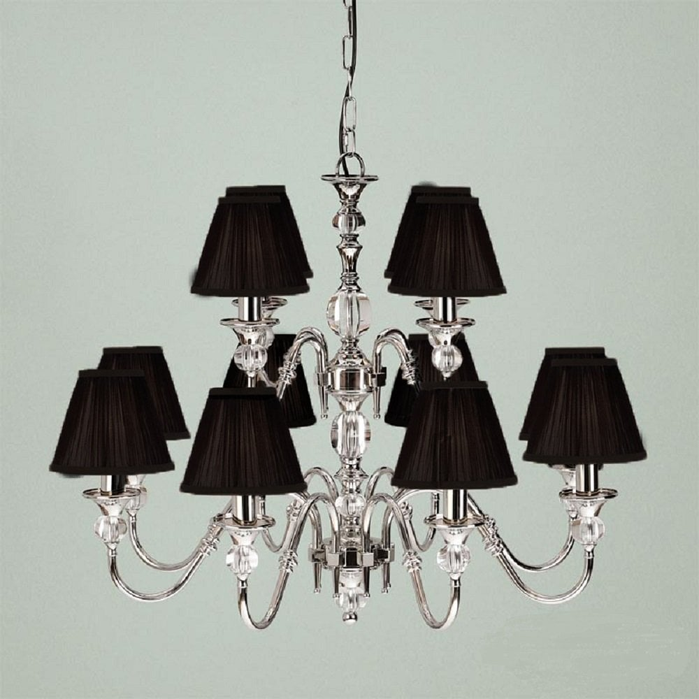 Polina Large 12 Light Classic Nickel Chandelier With Black Shades And Crystal Detailing