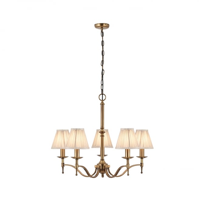 Sandringham Lighting STANFORD 5 light aged brass traditional chandelier with candle shades