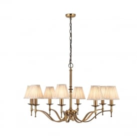 STANFORD aged brass 8 light chandelier with beige shades
