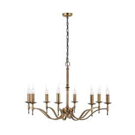 STANFORD aged brass Regency style 8 light chandelier