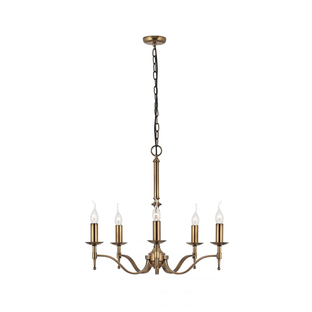 Stanford Aged Brass Candle Style Chandelier For High Ceilings