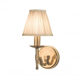 STANFORD aged brass wall light with beige shade