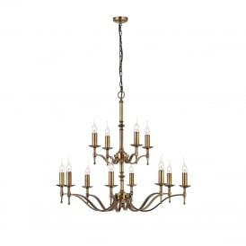 STANFORD large 12 light Regency style chandelier, aged brass