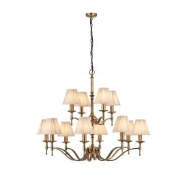 STANFORD large 2 tier aged brass chandelier with beige shades