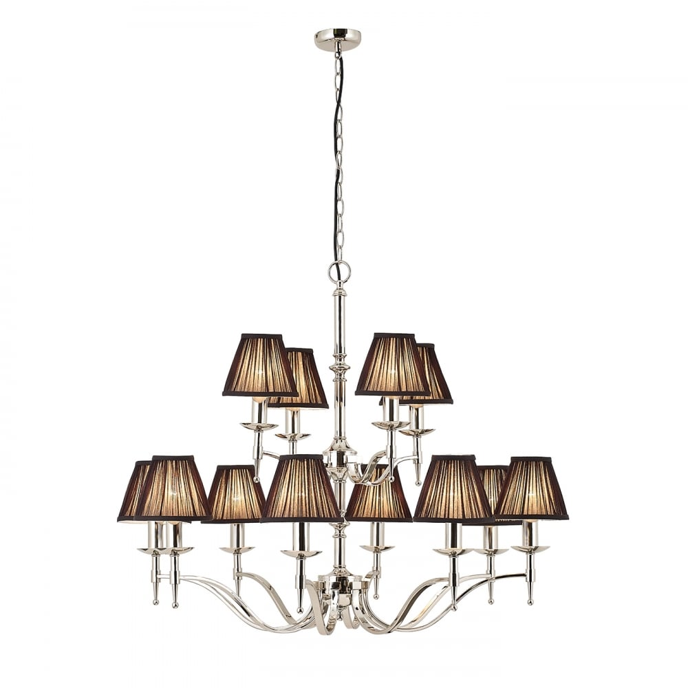 Stanford Large 2 Tier Nickel Chandelier With Black Shades