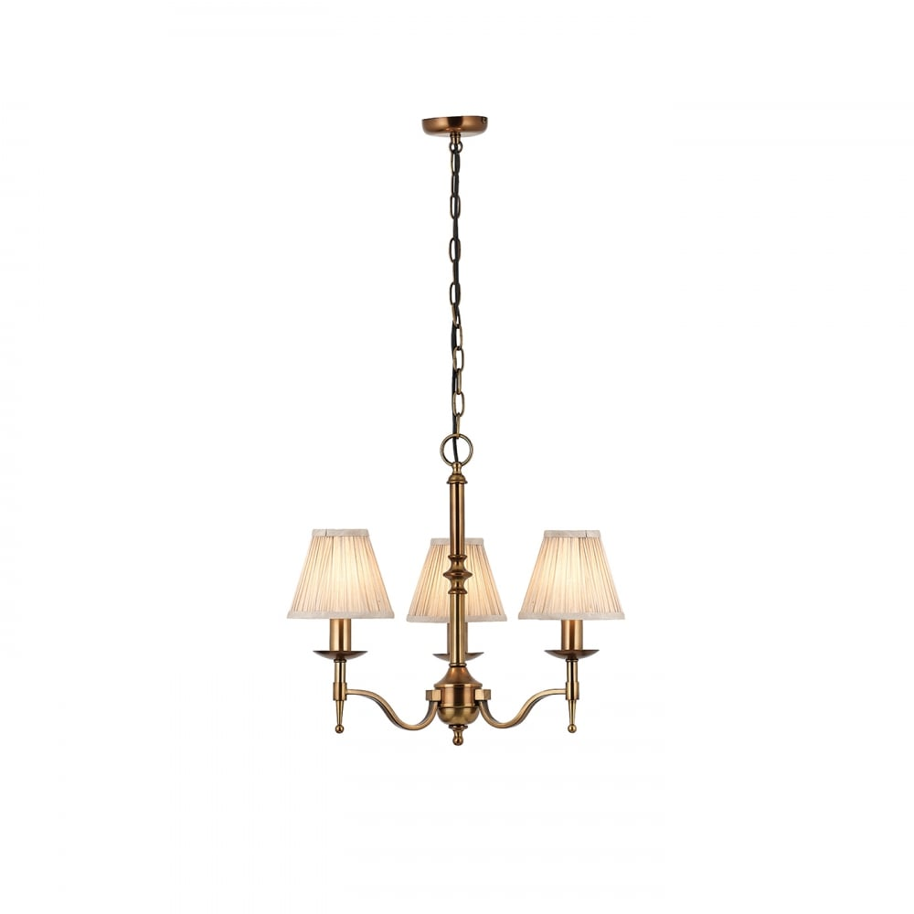 Chandelier Lighting Sale Uk: Small Traditional Aged Brass 3 Light Chandelier With Beige