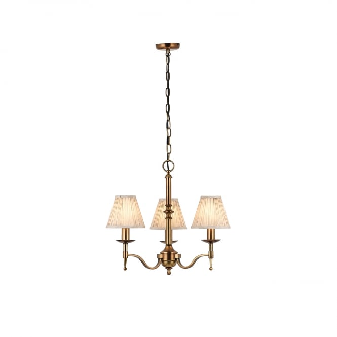 Sandringham Lighting STANFORD small 3 light aged brass chandelier with candle shades