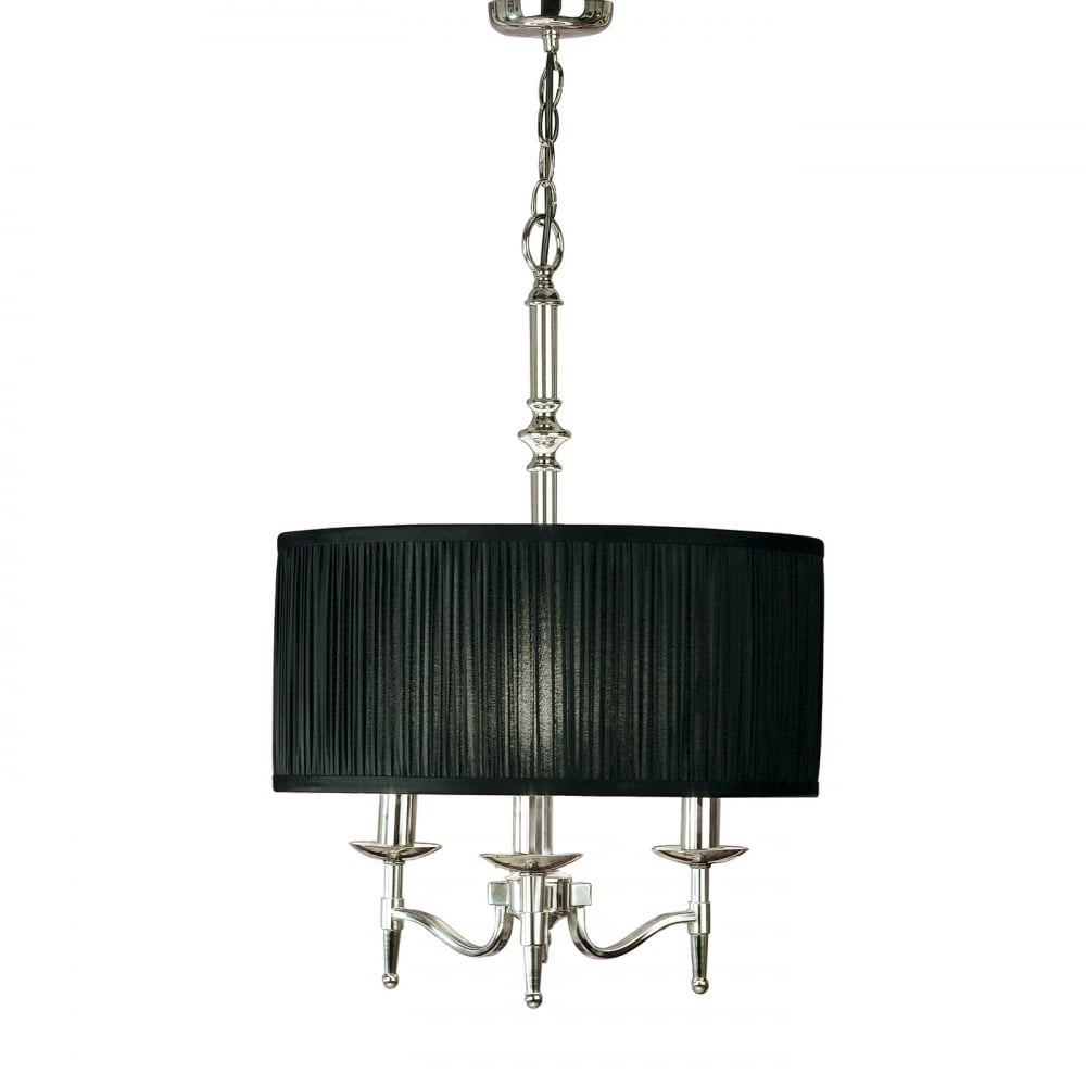 Stanford Traditional 3 Light Nickel Pendant With Pleated Black Drum Shade