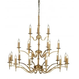 STANFORD very large 3 tier Regency style chandelier in aged brass