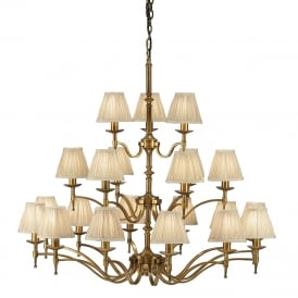 STANFORD very large aged brass chandelier with candle shades