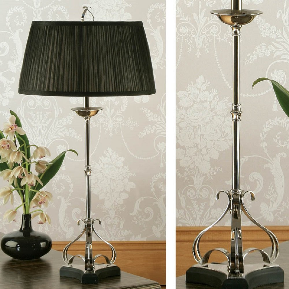Pleated Lamp Shades For Table Lamps: Zina Silver Nickel Table Lamp On Black Base With Black